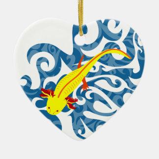 Axolotl yellow in the Wassser Ceramic Ornament