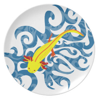 Axolotl yellow in the Wassser Dinner Plate