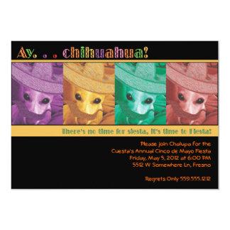 "Ay...Chihuahua Fiesta Invitation - Black 5"" X 7"" Invitation Card"
