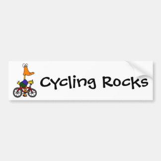 AY- Duck Riding Bicycle Cartoon Bumper Sticker