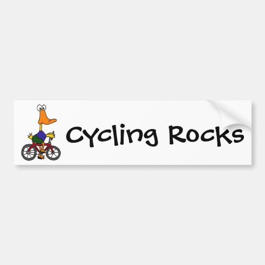 AY- Duck Riding Bicycle Cartoon Bumper Sticker