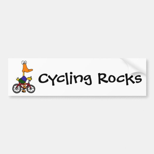 AY- Duck Riding Bicycle Cartoon Bumper Stickers