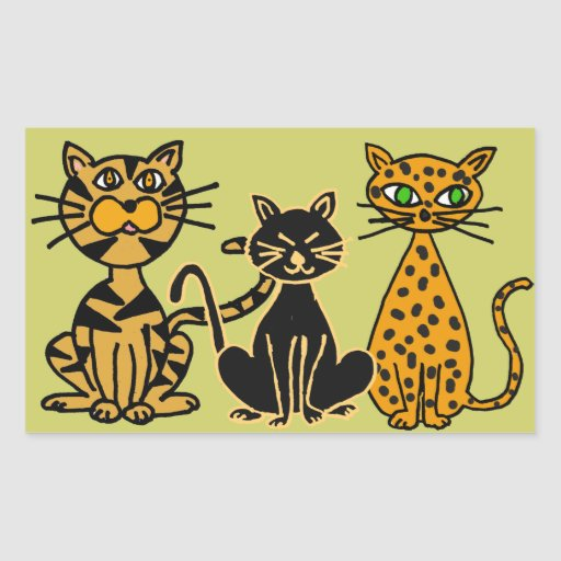 AY- Funny Cats Rectangle Stickers