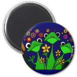AY- Funny Frog Folk Art Design 2 Inch Round Magnet