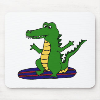 AY- Funny Surfing Alligator Cartoon Mouse Pad