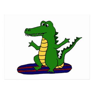 AY- Funny Surfing Alligator Cartoon Postcard