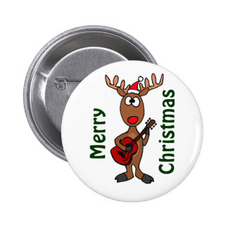 AY- Reindeer Playing Guitar 2 Inch Round Button