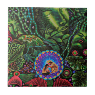 Ayahuasca Vision Azulejo Cuadrado Pequeño