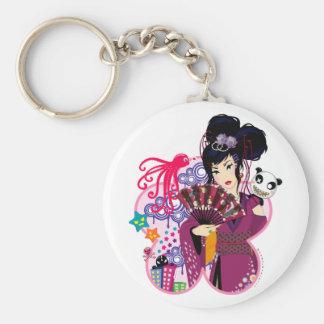 Ayaka in Harajuku Town Basic Round Button Keychain