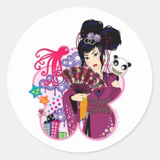 Ayaka in Harajuku Town Classic Round Sticker