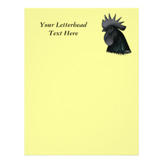 Ayam Cemani Rooster Head Customized Letterhead