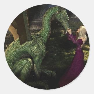Ayana y el dragón pegatina redonda