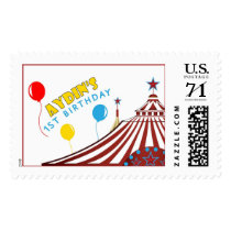 Aydin's first birthday circus tent postage