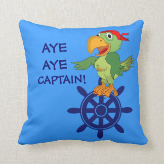 Aye Aye capitán Cartoon Pirate Parrot Nautical Cojin