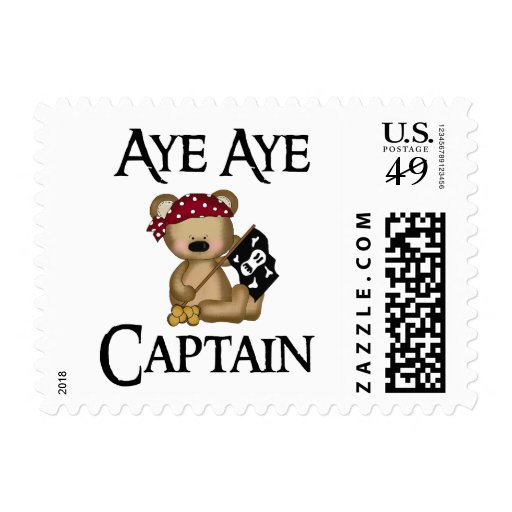 Aye Aye Captain Teddy Bear Pirate Postage Stamp Stamps