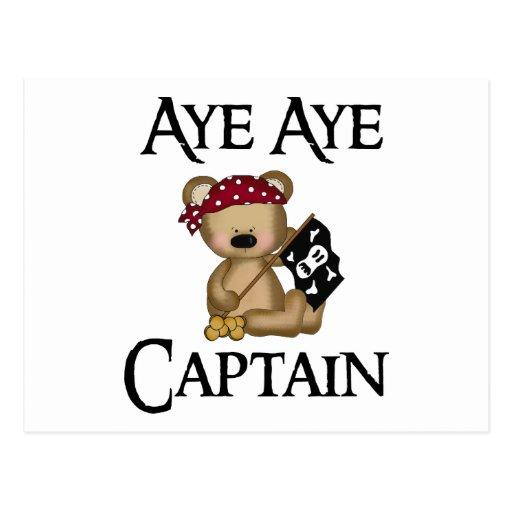 Aye Aye Captain Teddy Bear Pirate Postcard