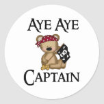 Aye Aye Captain Teddy Bear Pirate Stickers Round Stickers