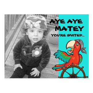 Aye Aye Pirate Parrot Postcard