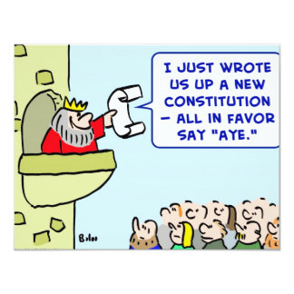 "aye constitution king favor 4.25"" x 5.5"" invitation card"
