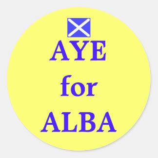 Aye for Alba Scottish Independence Flag Sticker Round Sticker