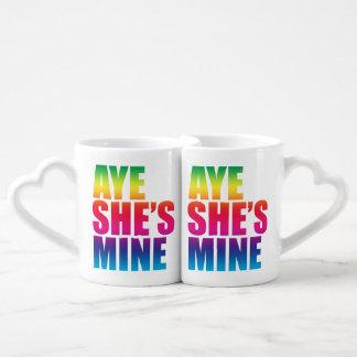 Aye she's mine Gay Lesbian Coffee Mug Set
