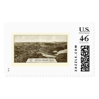 Ayer MA Panoramic Map - 1886 Stamps