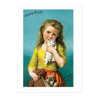 Ayers Pills Girl With Cat Postcard