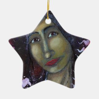 Ayesha femenino divino adorno navideño de cerámica en forma de estrella