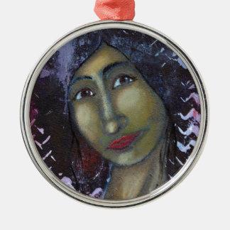 Ayesha femenino divino adorno navideño redondo de metal