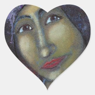 Ayesha femenino divino pegatina en forma de corazón