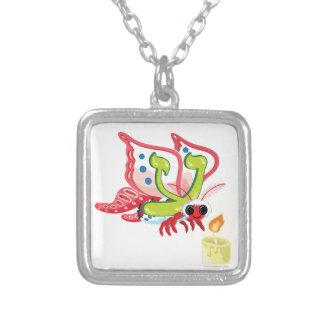 Ayin la polilla, hebreo Aleph apostado (alfabeto) Collar Plateado