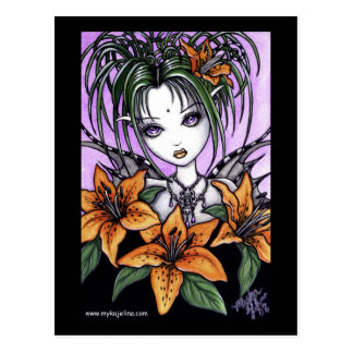 Ayla Gothic Tiger Lilly Fairy Postcard