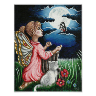 Ayla Moonlight Fairy and Cat Fantasy Poster