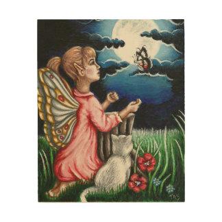 Ayla Moonlight Fairy and Cat Fantasy Wood Wall Art