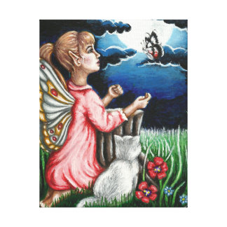 Ayla Moonlight Fairy and Cat Wrapped Canvas Canvas Print