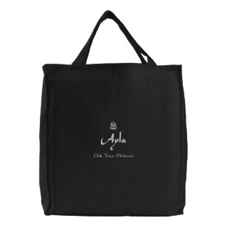 Ayla Name With Hebrew Meaning Black Embroidered Tote Bag