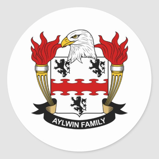 Aylwin Family Crest Classic Round Sticker