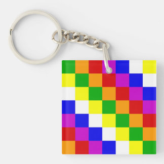 Aymara people ethnic flag color square keychain