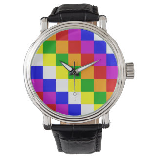 Aymara people ethnic flag geometry colors square wristwatch