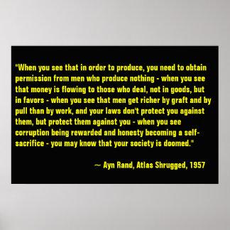 Ayn Rand, atlas encogido Póster