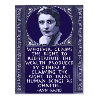 Ayn Rand en la redistribución de la riqueza Tarjeta Postal