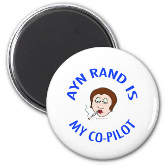 ayn rand is my co-pilot objectivism refrigerator magnets