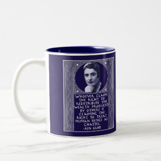 Ayn Rand on Redistribution of Wealth Two-Tone Coffee Mug