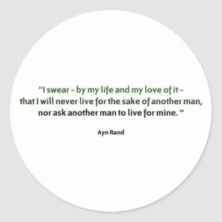 Ayn Rand Quote Classic Round Sticker