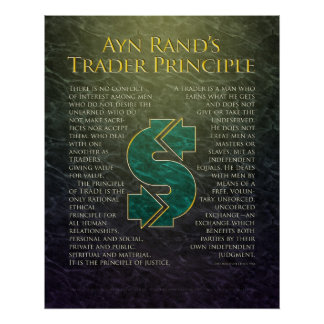"""Ayn Rand's """"Trader Principle"""" Poster"""