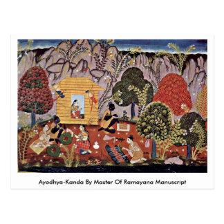 Ayodhya-Kanda por el amo del manuscrito de Ramayan Postales