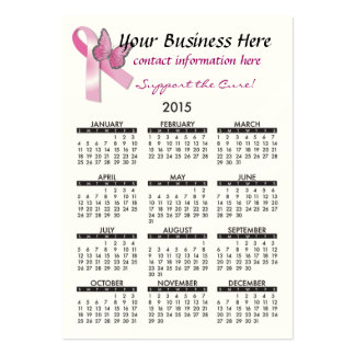 Ayuda 2015 del cáncer de Breat del calendario de Tarjetas De Visita Grandes