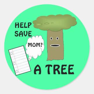 Ayuda ahorrar a un pegatina del árbol