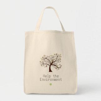 Ayuda ahorrar el ambiente bolsa tela para la compra
