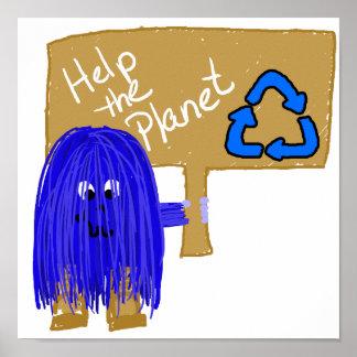 Ayuda azul que el planeta recicla poster